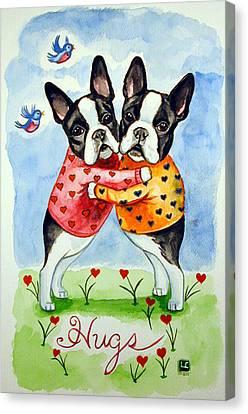 Hug Canvas Print - Boston Terrier Hugs by Lyn Cook