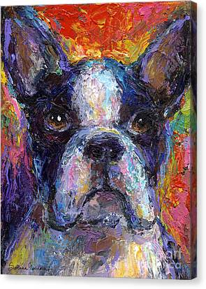 Boston Terrier Impressionistic Portrait Painting Canvas Print by Svetlana Novikova