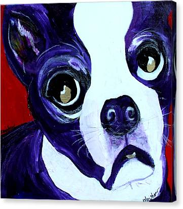 Canvas Print featuring the painting Boston Terrier- Lucy by Laura  Grisham