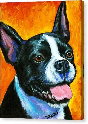 Boston Terrier On Orange Canvas Print by Dottie Dracos