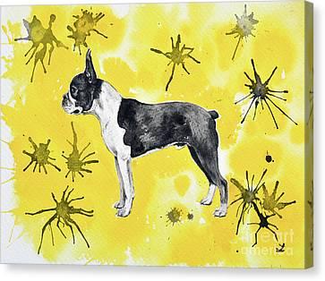Canvas Print featuring the painting Boston Terrier On Yellow by Zaira Dzhaubaeva