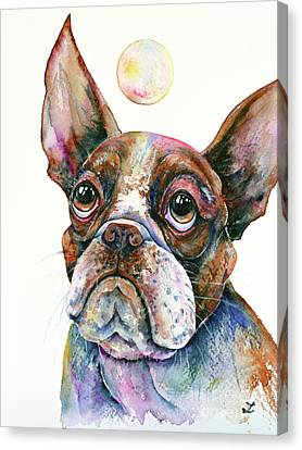 Canvas Print featuring the painting Boston Terrier Watching A Soap Bubble by Zaira Dzhaubaeva