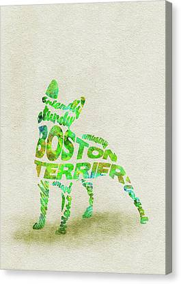 Boston Terrier Watercolor Painting / Typographic Art Canvas Print