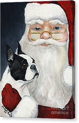 Boston Terrier With Santa Canvas Print by Charlotte Yealey