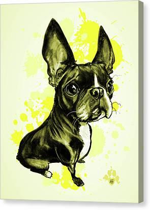 Canvas Print - Boston Terrier - Yellow Paint Splatter by John LaFree