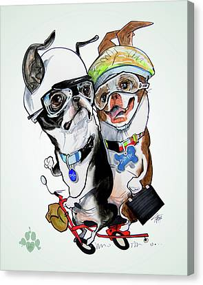 Caricature Canvas Print - Boston Terriers - Dumb And Dumber by John LaFree