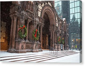 Boston Trinity Church Christmas Wreaths Boston Ma Hancock Reflection Canvas Print by Toby McGuire