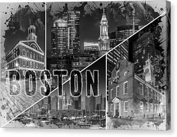 Custom House Tower Canvas Print - Boston Urban Collage No 1 by Melanie Viola