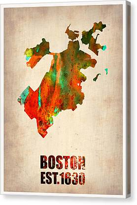 Boston Watercolor Map  Canvas Print by Naxart Studio