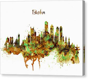 Boston Watercolor Skyline Canvas Print by Marian Voicu