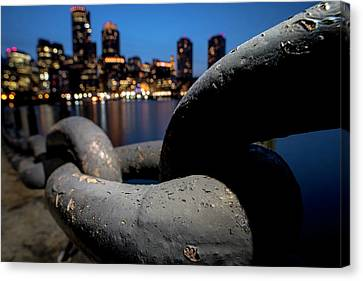 Boston Waterfront Chain Closeup Detail Boston Ma Canvas Print by Toby McGuire