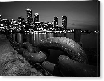 Boston Waterfront Chain Detail Boston Ma Black And White Canvas Print by Toby McGuire
