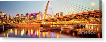 Boston Zakim Bridge At Night Panorama Photo Canvas Print
