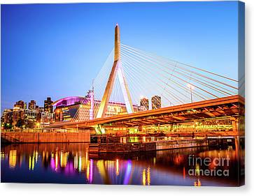 Boston Zakim Bridge At Night Photo Canvas Print