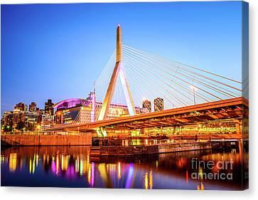 Boston Garden Canvas Print - Boston Zakim Bridge At Night Photo by Paul Velgos