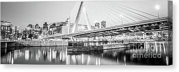Boston Zakim Bridge Black And White Panorama Photo Canvas Print