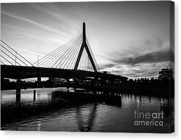 Boston Zakim Bridge Black And White Picture Canvas Print