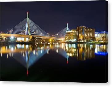 Boston Zakim Bridge Reflections Canvas Print by Shane Psaltis