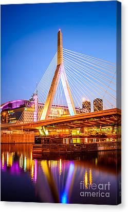 Boston Garden Canvas Print - Boston Zakim Bunker Hill Bridge At Night Photo by Paul Velgos
