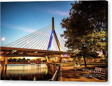 Boston Zakim Bunker Hill Bridge At Night Picture Canvas Print