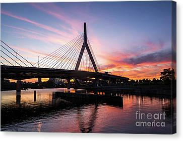 Boston Zakim Bunker Hill Bridge At Sunset Photo Canvas Print