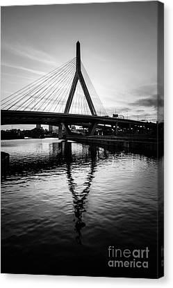 Charles River Canvas Print - Boston Zakim Bunker Hill Bridge In Black And White by Paul Velgos