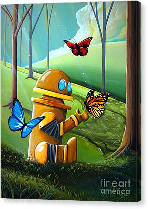 Bot And The Butterflies Canvas Print by Cindy Thornton