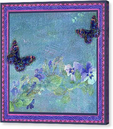 Canvas Print featuring the painting Botanical And Colorful Butterflies by Judith Cheng