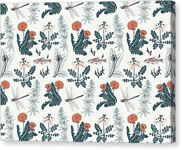 Botanical Kingfisher Canvas Print