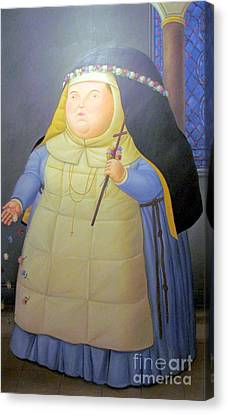 Botero Nunn In Blue Canvas Print by Ted Pollard