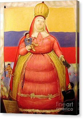 Botero Woman And Child Canvas Print by Ted Pollard