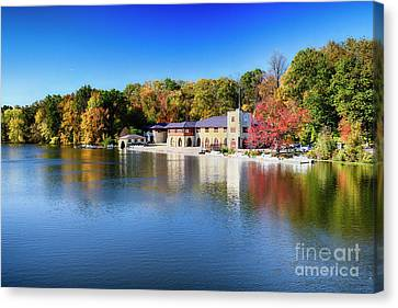 Boathouse On Lake Carnegie With Autumn Foliage Canvas Print by George Oze