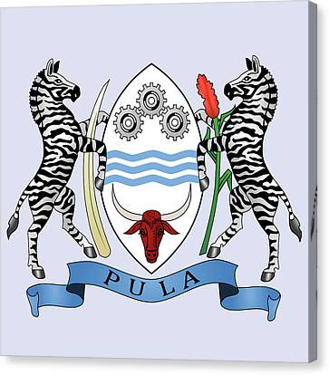 Canvas Print featuring the drawing Botswana Coat Of Arms by Movie Poster Prints