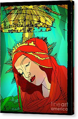Jesus Face Canvas Print - Botticelli Madonna Abstract Background by Genevieve Esson