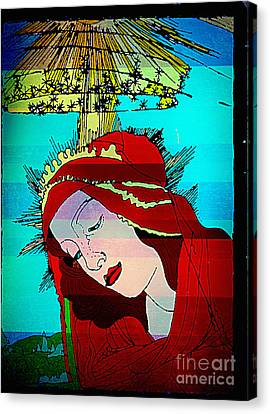 Jesus Face Canvas Print - Botticelli Madonna Layered by Genevieve Esson