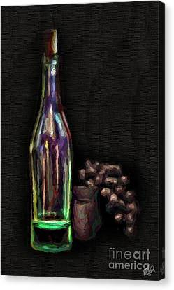 Canvas Print featuring the photograph Bottle And Grapes by Walt Foegelle