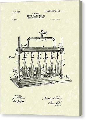 Wines Canvas Print - Bottle Filling Machine 1903 Patent Art by Prior Art Design