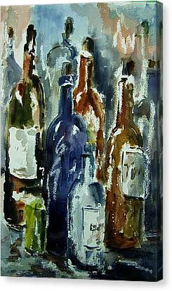 Bottle In A Dusty Cellar Canvas Print by Wilfred McOstrich