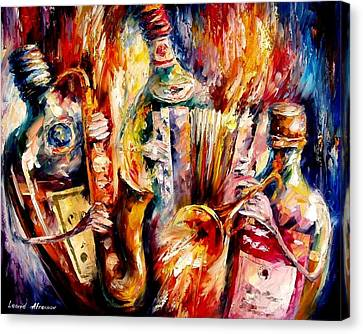 Bottle Jazz Canvas Print by Leonid Afremov