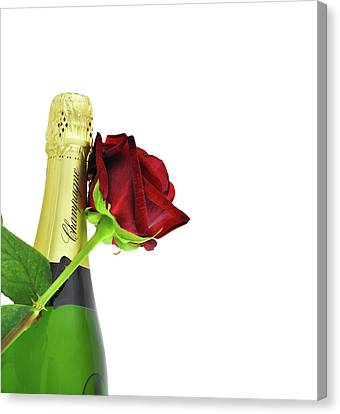 Bottle Of Champagne And A Red Rose Canvas Print