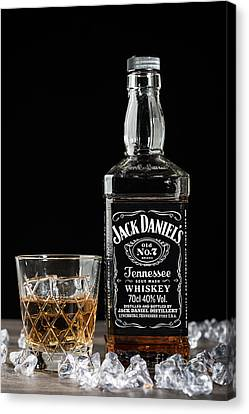 Bottle Of Jack Daniel's Canvas Print by Amanda Elwell