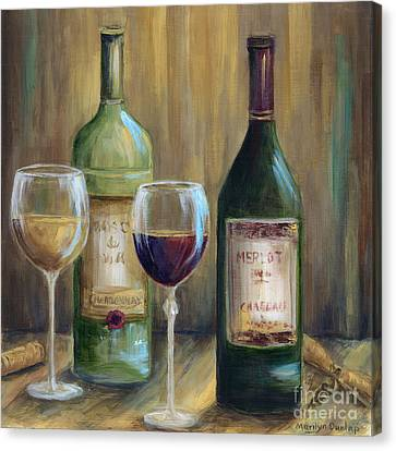 Glass Of Wine Canvas Print - Bottle Of Red Bottle Of White   by Marilyn Dunlap
