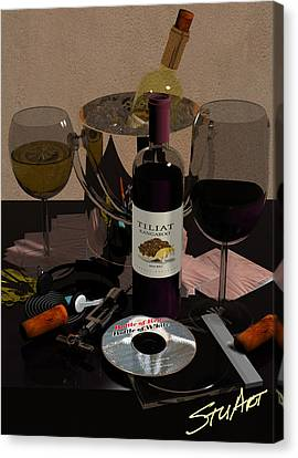 Bottle Of Red...bottle Of White Canvas Print