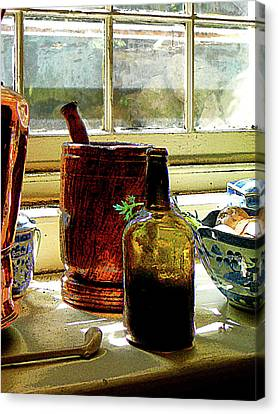 Bottle With Mortar And Pestle Canvas Print