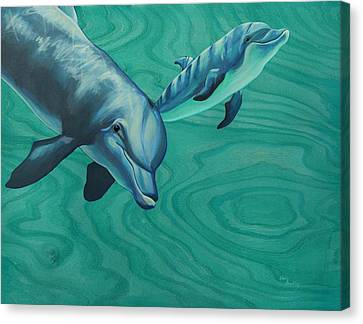 Bottlenose Dolphins Canvas Print by Emily Brantley