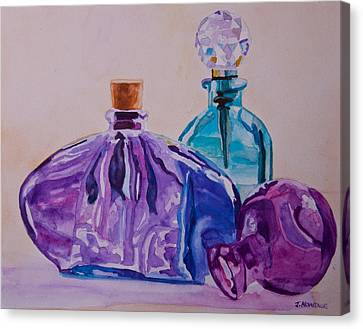 Bottles And Stoppers Canvas Print by Jenny Armitage