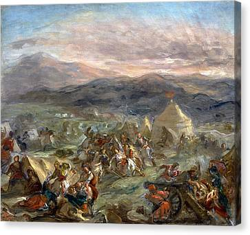 Botzaris Surprises The Turkish Camp And Falls Fatally Wounded Canvas Print