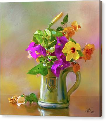 Bougainvilleas In A Green Jar. Canvas Print