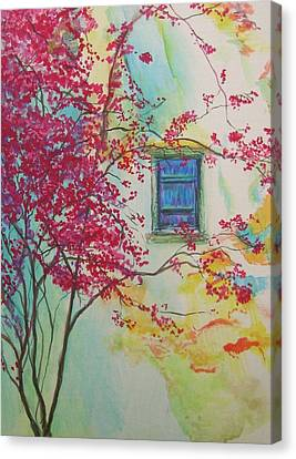 Bouganvilla And Blue Shutter Canvas Print by Lizzy Forrester