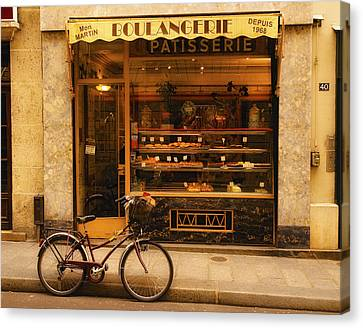 Boulangerie And Bike Canvas Print by Mick Burkey
